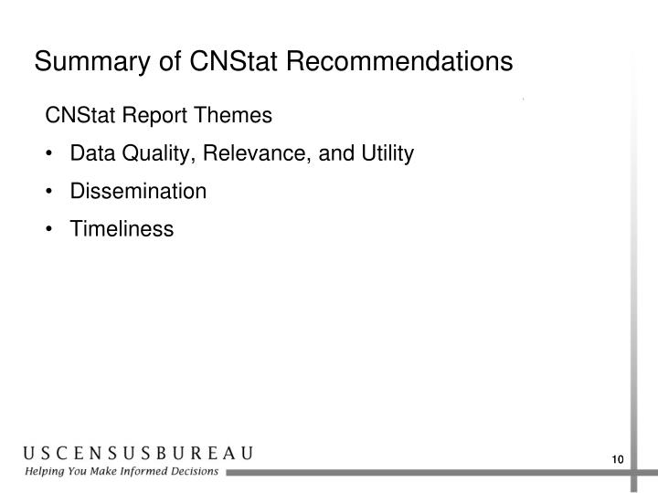 Summary of CNStat Recommendations