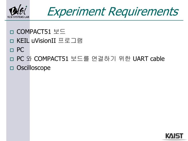 Experiment Requirements