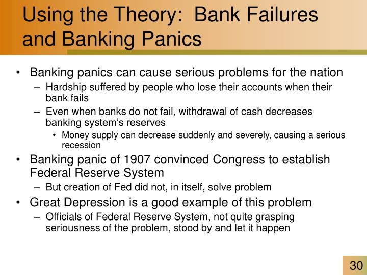 Using the Theory:  Bank Failures and Banking Panics
