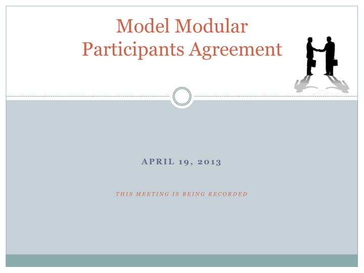Model modular participants agreement