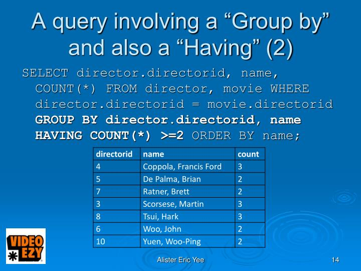 "A query involving a ""Group by"" and also a ""Having"" (2)"