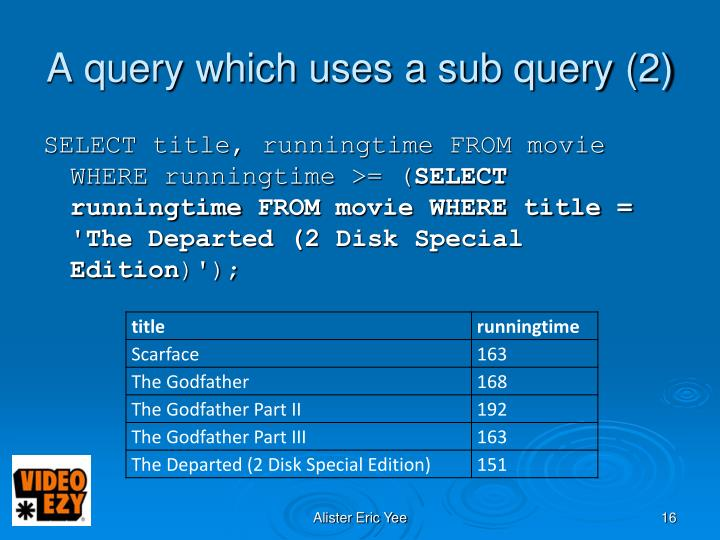 A query which uses a sub query (2)
