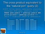 the cross product equivalent to the natural join query 2