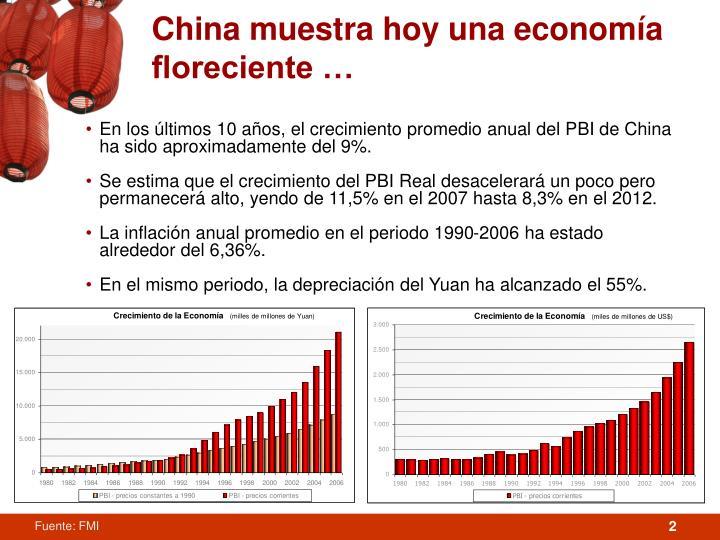 China muestra hoy una economía floreciente …