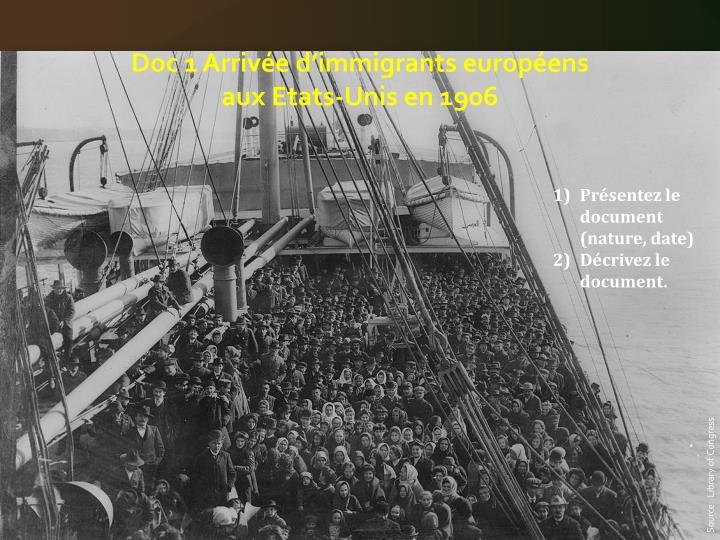 Doc 1 Arrivée d'immigrants européens