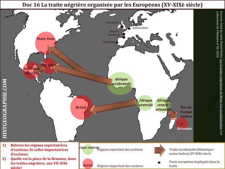 Doc 16 La traite négrière organisée par les Européens (XV-XIXè siècle)