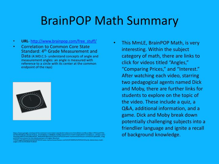 Brainpop math summary