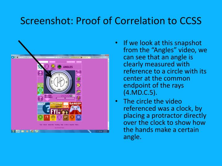 Screenshot proof of correlation to ccss
