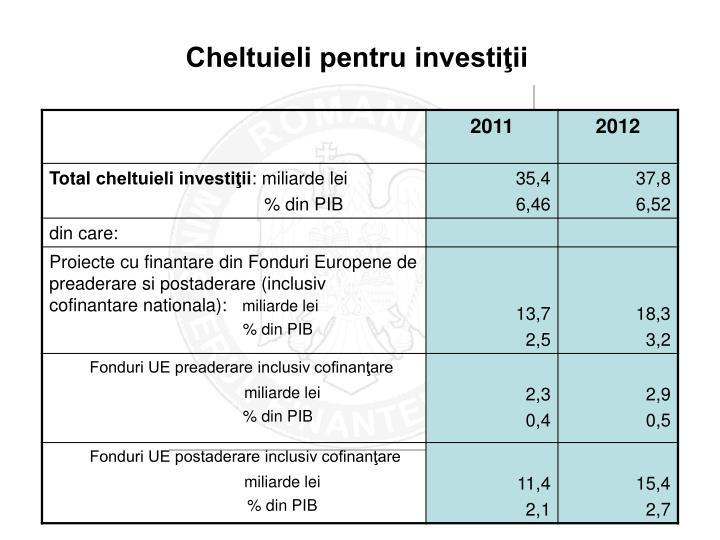 Cheltuieli pentru investiţii