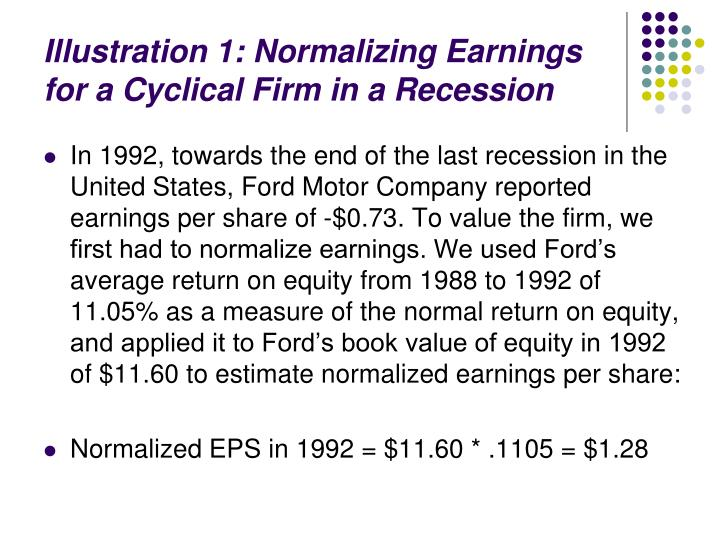 Illustration 1: Normalizing Earnings for a Cyclical Firm in a Recession