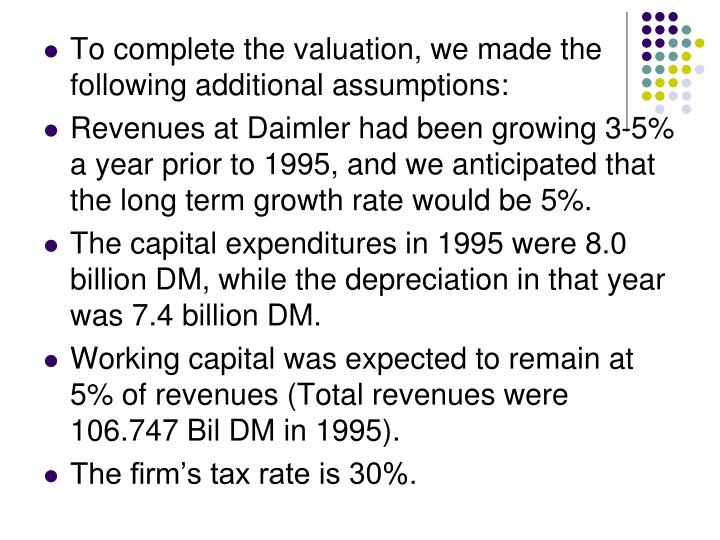 To complete the valuation, we made the following additional assumptions: