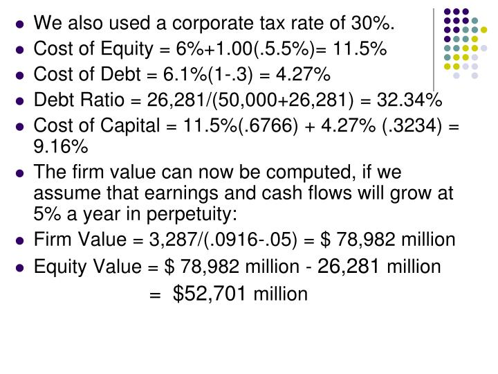 We also used a corporate tax rate of 30%.
