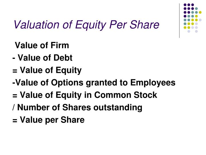 Valuation of Equity Per Share