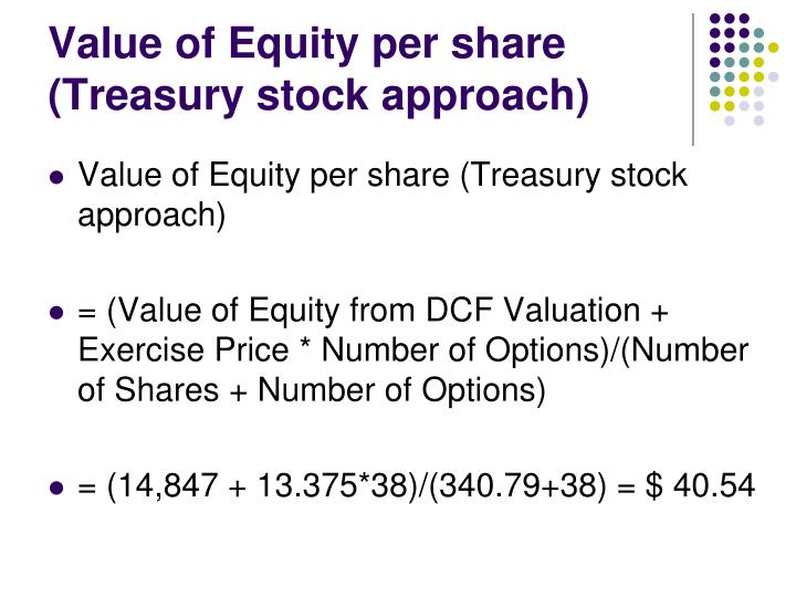 Value of Equity per share (Treasury stock approach)