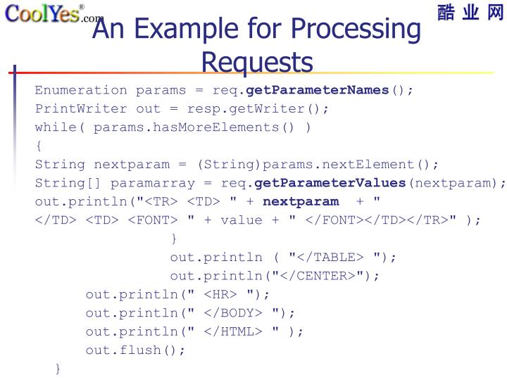 An Example for Processing Requests