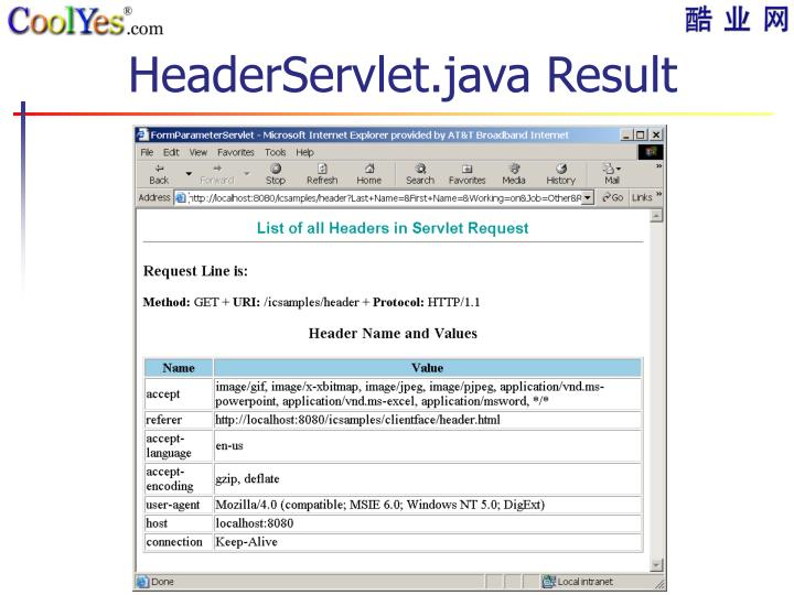 HeaderServlet.java Result