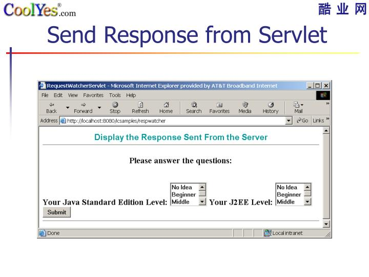Send Response from Servlet