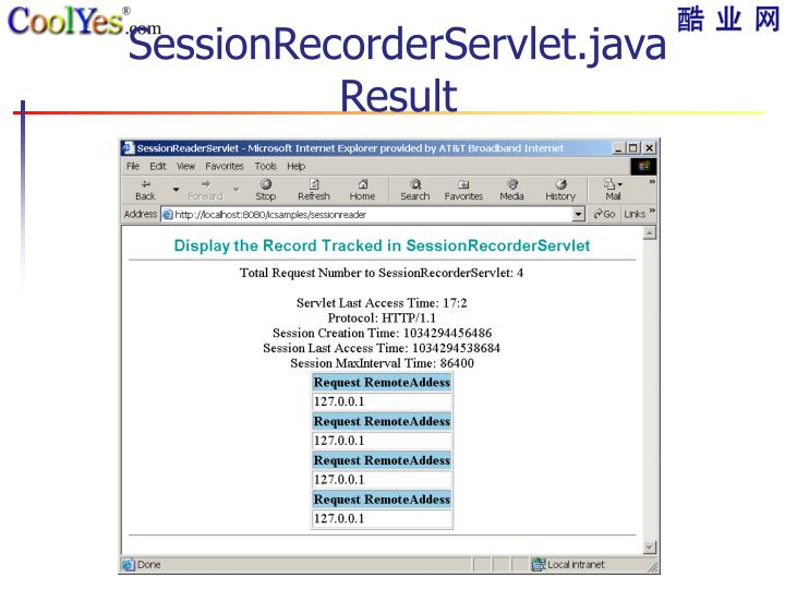 SessionRecorderServlet.java Result