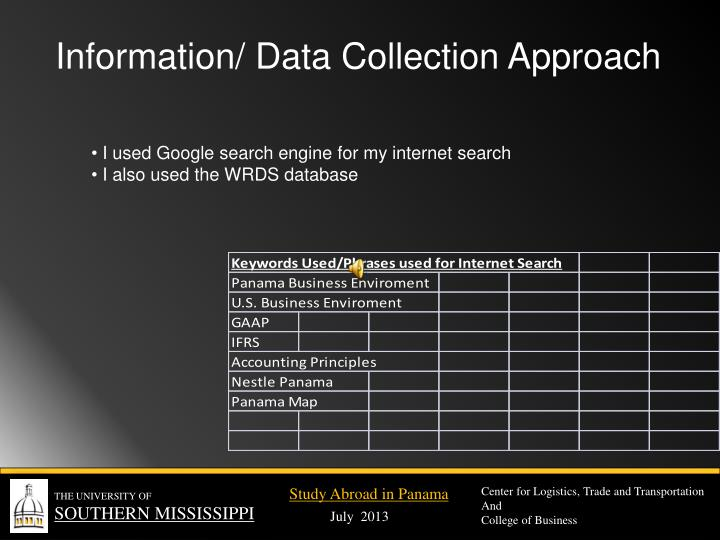 Information/ Data Collection Approach