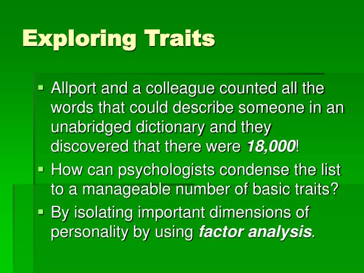 Exploring Traits