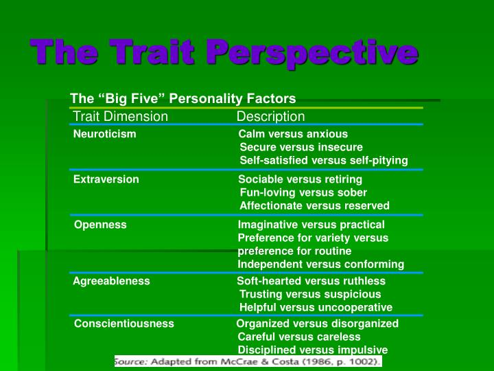 "The ""Big Five"" Personality Factors"