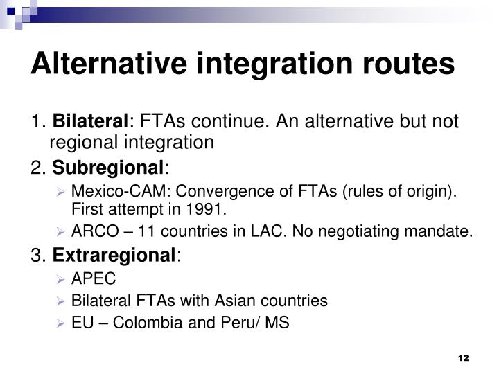 Alternative integration routes