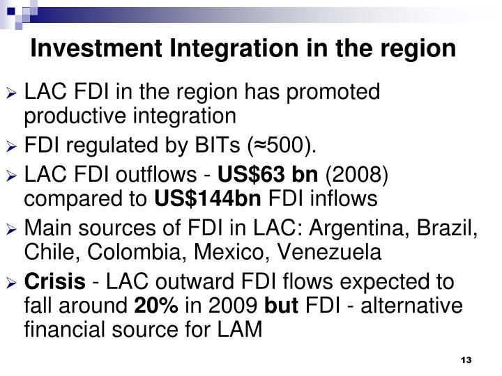 Investment Integration in the region
