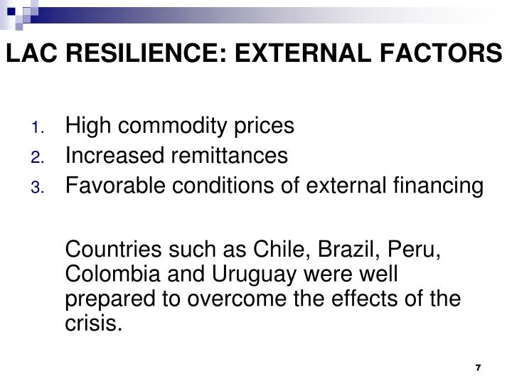 LAC RESILIENCE: EXTERNAL FACTORS