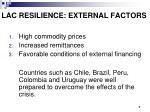 lac resilience external factors