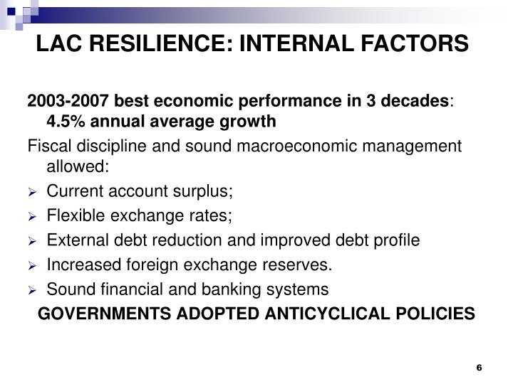 LAC RESILIENCE: INTERNAL FACTORS