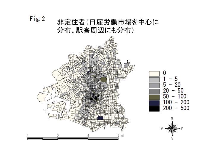 非定住者(日雇労働市場を中心に分布、駅舎周辺にも分布)