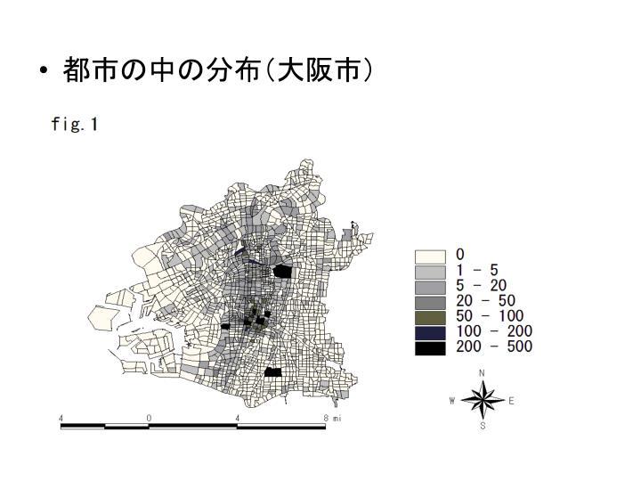 都市の中の分布(大阪市)