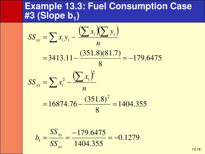 Example 13.3: Fuel Consumption Case #3 (Slope b