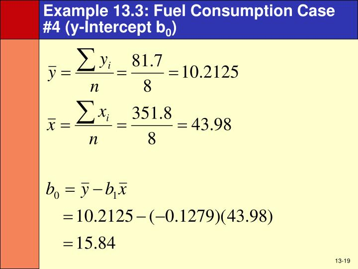 Example 13.3: Fuel Consumption Case #4 (y-Intercept b