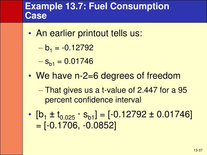 Example 13.7: Fuel Consumption