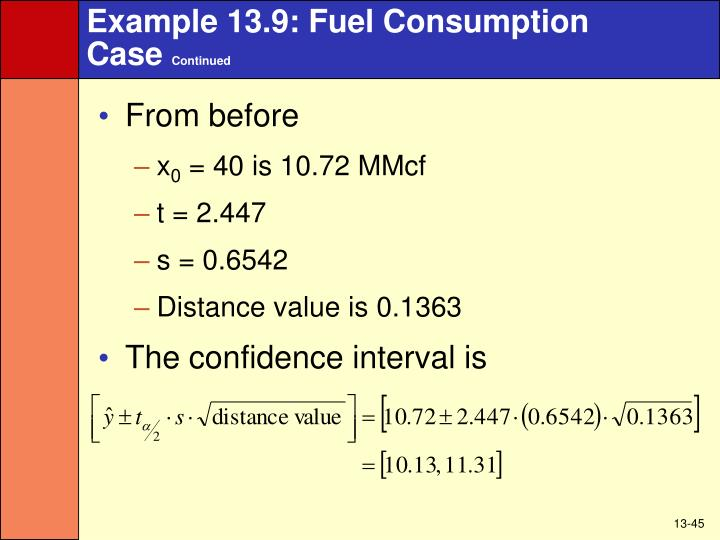 Example 13.9: Fuel Consumption