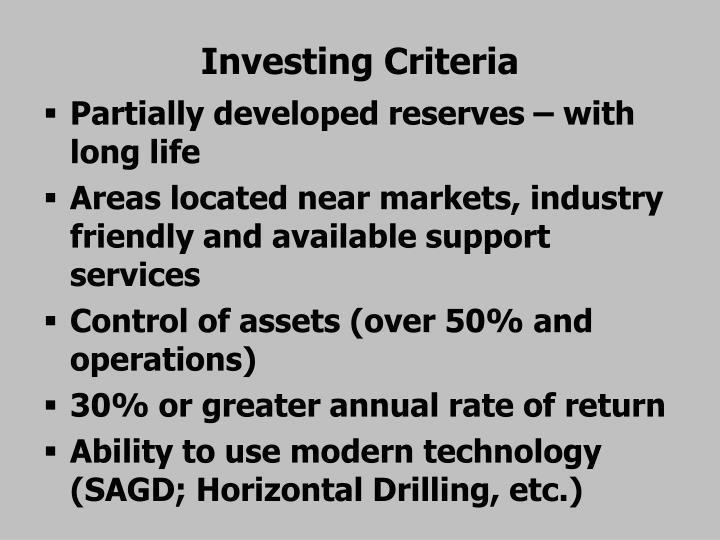 Investing Criteria
