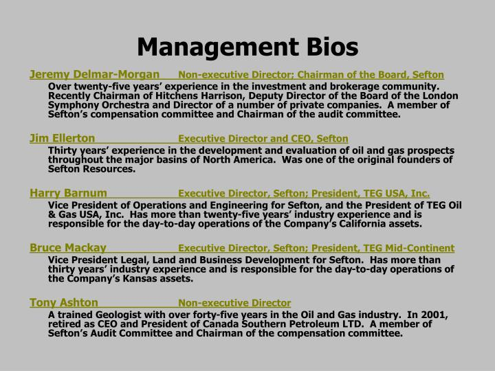 Management bios