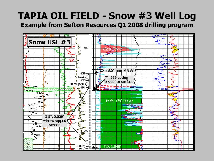 TAPIA OIL FIELD - Snow #3 Well Log