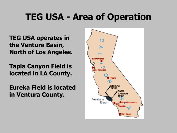 TEG USA - Area of Operation