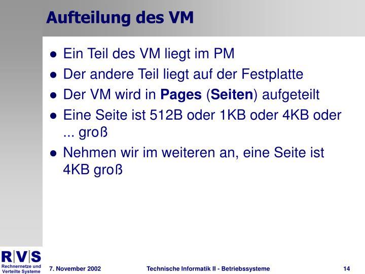 Aufteilung des VM