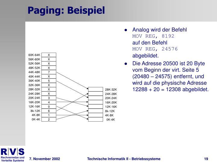 Paging: Beispiel