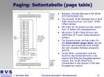 paging seitentabelle page table