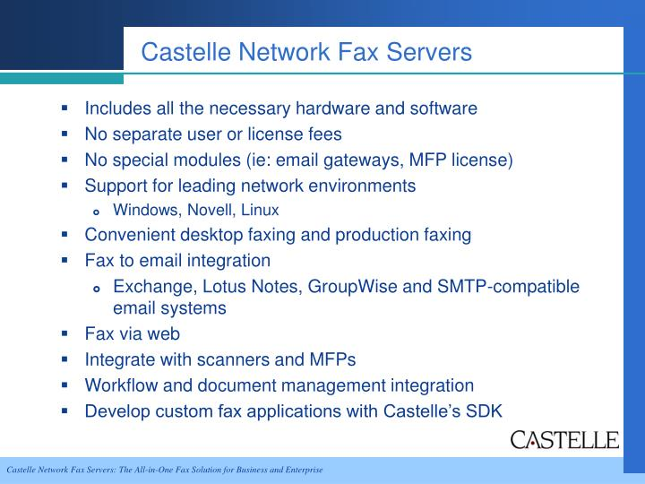Castelle Network Fax Servers