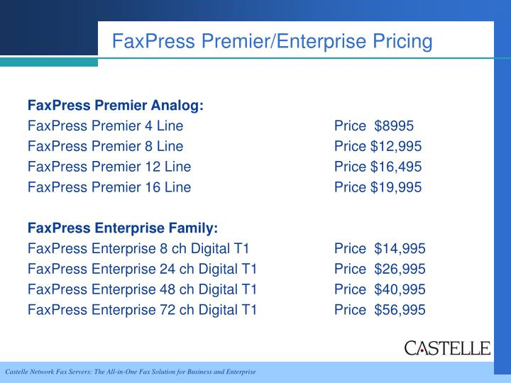 FaxPress Premier/Enterprise Pricing