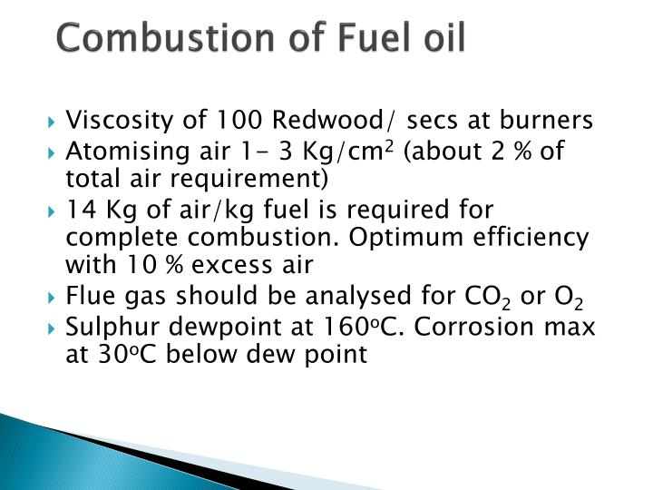 Combustion of Fuel oil