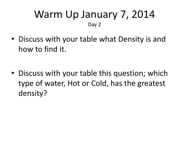 Warm up january 7 2014 day 2