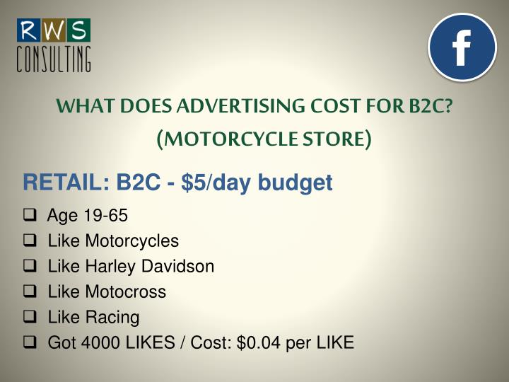WHAT DOES ADVERTISING COST FOR B2C? (MOTORCYCLE STORE)