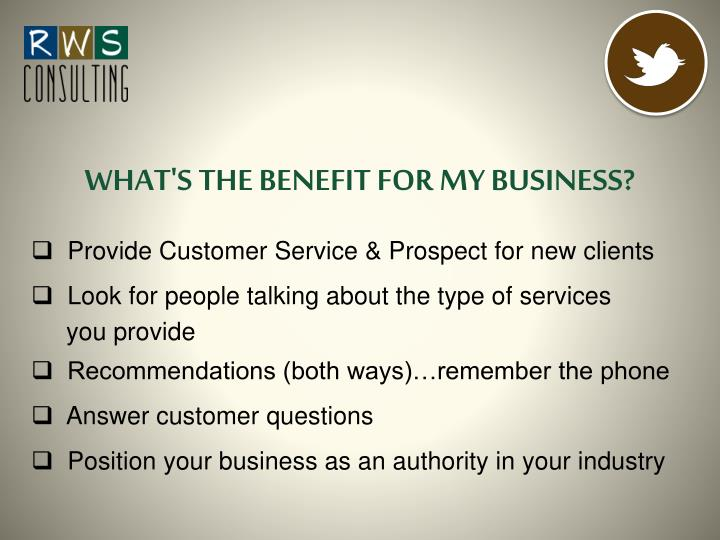 WHAT'S THE BENEFIT FOR MY BUSINESS?