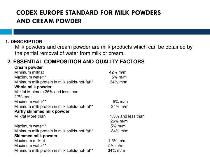 CODEX EUROPE STANDARD FOR MILK POWDERS